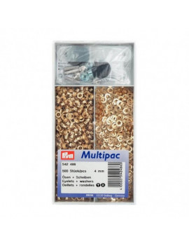 OEILLETS 4MM DORE MULTIPAC 500PCS + OUTIL DE POSE