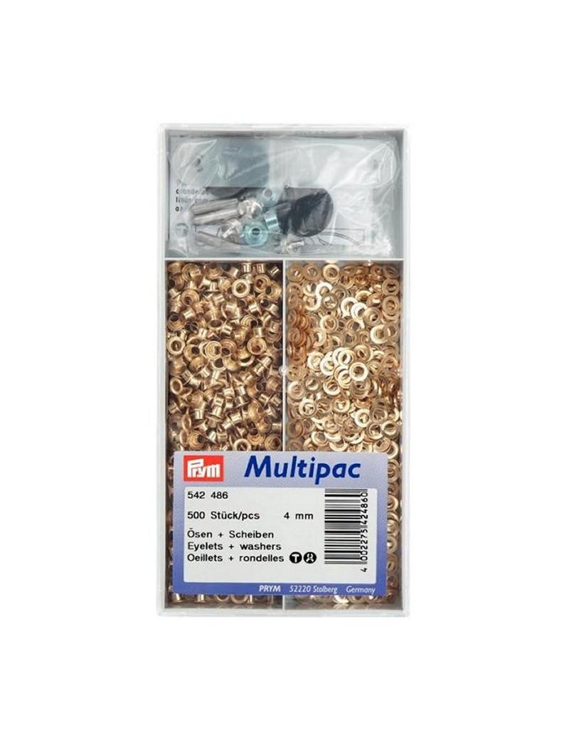 OEILLETS 4MM DORE MULTIPAC 500PCS + OUTIL DE POSE
