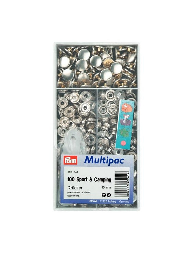BOUTONS PRESSIONS SPORT & CAMPING NICKEL 15MM MULTIPAC 100PCS