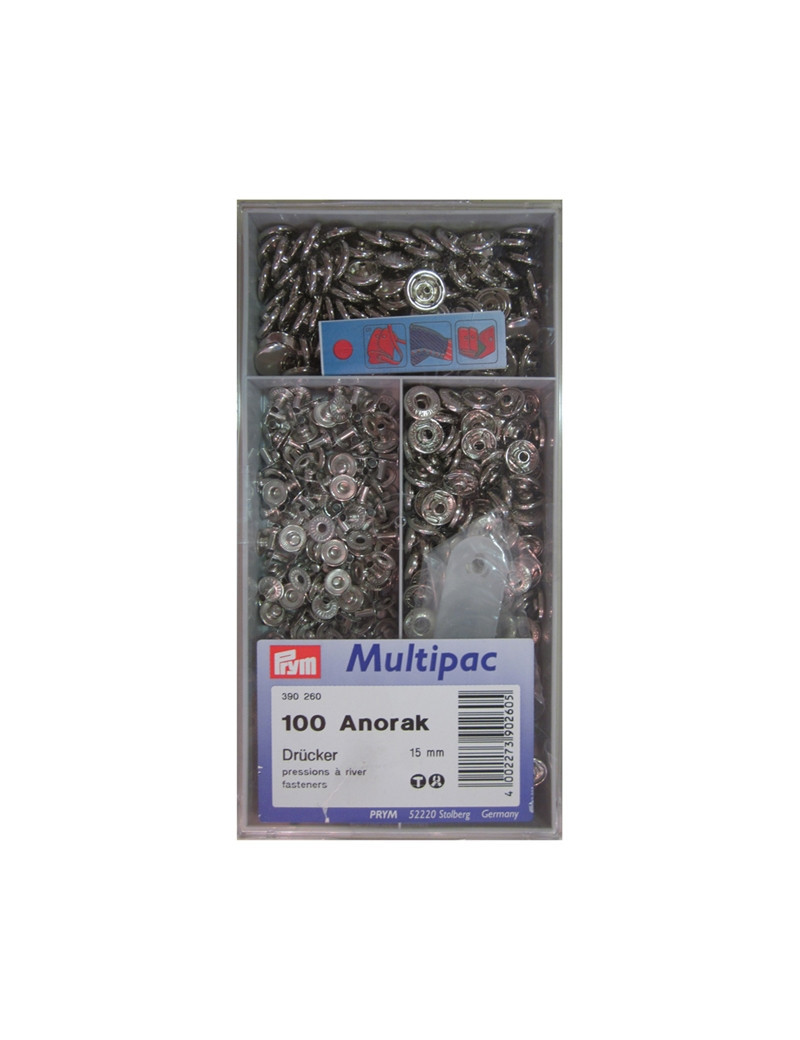BOUTONS PRESSIONS ANORAK NICKEL 15MM MULTIPAC 100PCS