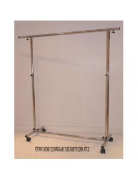 PORTE CINTRES CHROME 125 CM +(allonges) REGLABLE EN HAUTEUR