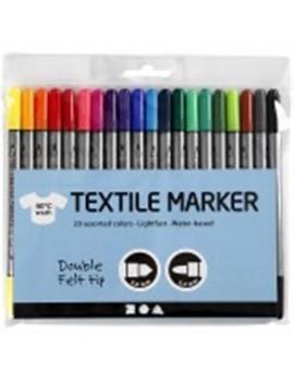 Feutres textile double pointe 2,3 mm - 3,6 mm étui de 20 couleurs