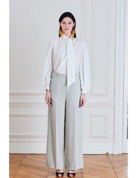 THEO Pantalon droit  taille haute- Crème vert d'eau motif chevron