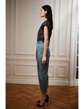 JULES Pantalon ceinturé à plis - Bleu canard
