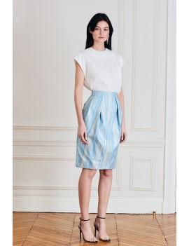 EMMA Jupe droite à empiècements & plis couchés - Bleu argent