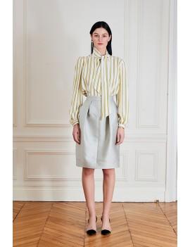 EMMA Jupe droite à empiècements & plis couchés - Satin duchesse gris