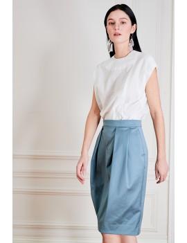 EMMA Jupe droite à empiècements & plis couchés - Bleu canard