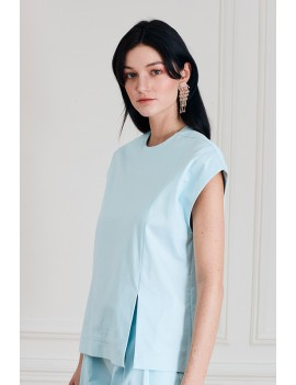 LEO Top à découpes asymétriques - Bleu clair uni