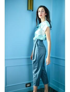 JULES - Pantalon ceinturé à plis Gris chiné