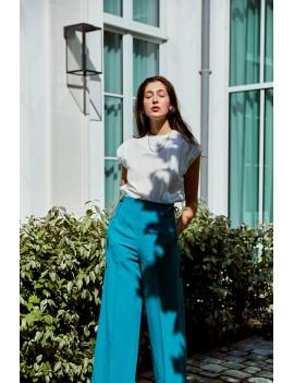 THEO - Pantalon droit taille haute - Vert turquoise